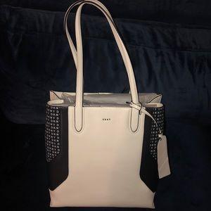 DKNY White and Black Handbag